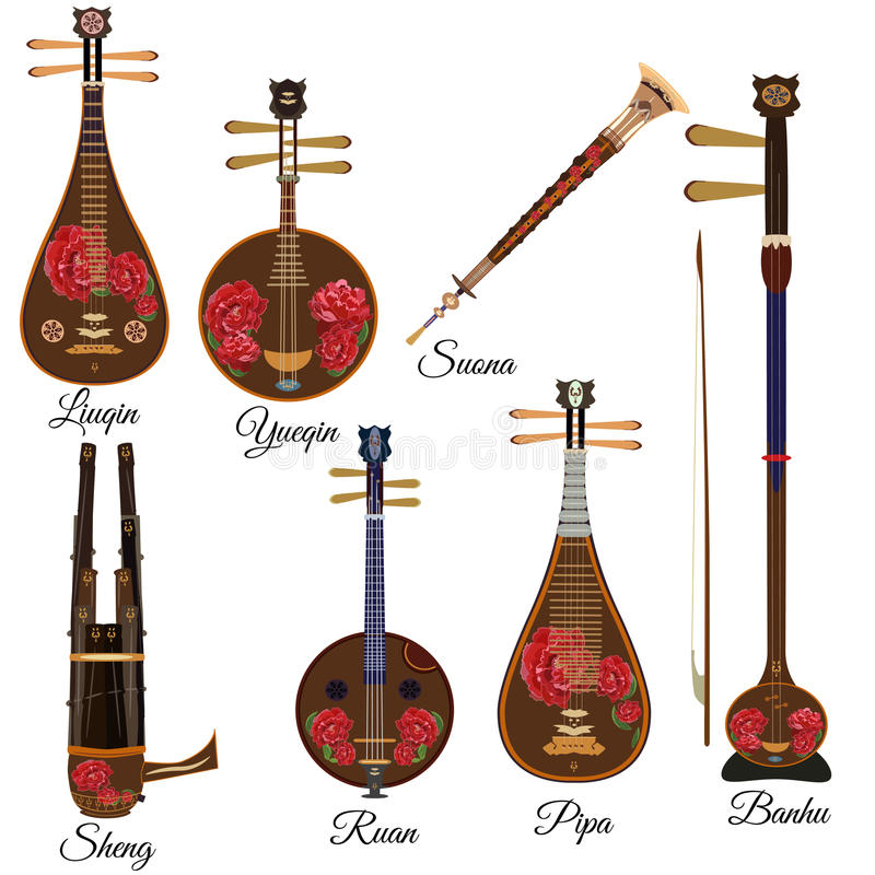 Vector set of chinese string and wind musical instruments, flat style. Vector set of chinese string and wind musical instruments with peony flowers in flat stock illustration