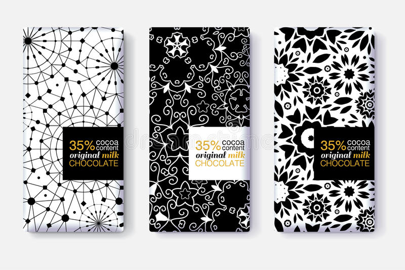 Download Vector Set Of Chocolate Bar Package Designs With Black And White Geometric Patterns Editable