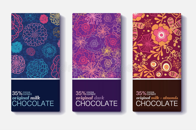 Vector Set Of Chocolate Bar Package Designs With Colorful Floral Patterns. Milk, Dark, Almond. Editable Packaging royalty free illustration