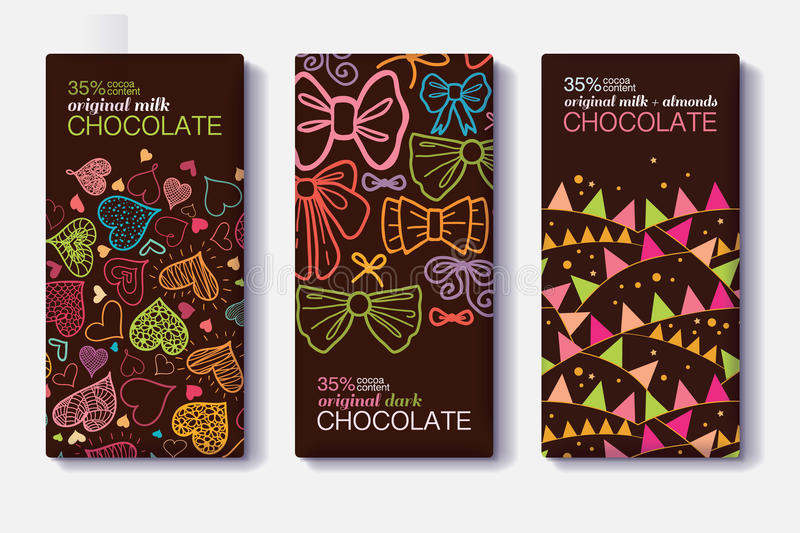 Vector Set Of Chocolate Bar Package Designs With Fun Party Decor Hearts, Bows, Flags Patterns. Milk, Dark, Almond vector illustration