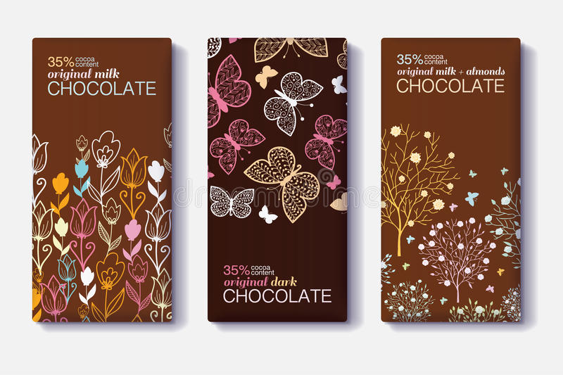 Vector Set Of Chocolate Bar Package Designs With Modern Floral and Butterfly Borders. Milk, Dark, Almond. Editable vector illustration
