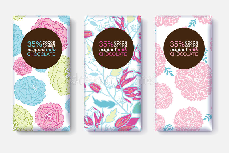 Vector Set Of Chocolate Bar Package Designs With Pink Blue Pastel Floral Patterns. Circle frame. Editable Packaging vector illustration