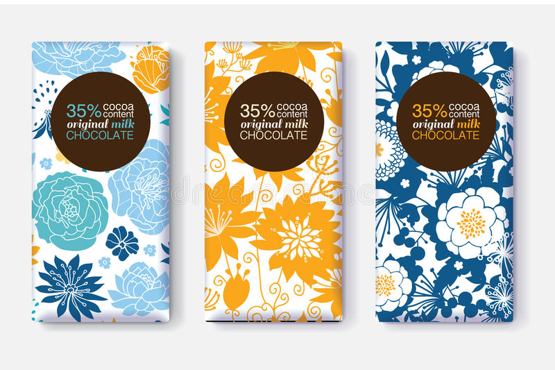 Vector Set Of Chocolate Bar Package Designs With Yellow Blue Pastel Floral Patterns. Circle frame. Editable Packaging royalty free illustration