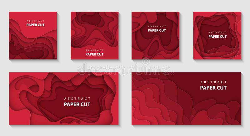 3D abstract paper style, design layout for business presentations, flyers, posters, prints, decoration, cards, brochure. Vector set of 6 Christmas backgrounds stock illustration