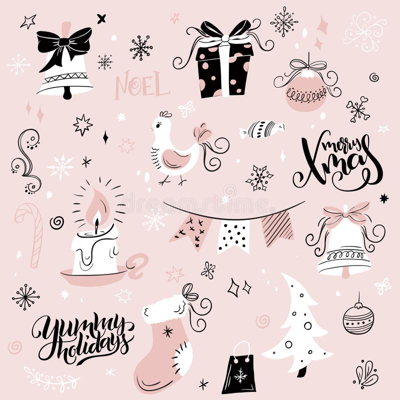 Vector set of christmas hand drawn decorative elements and characters - gift, sock, fir-tree and hand lettering.  stock illustration