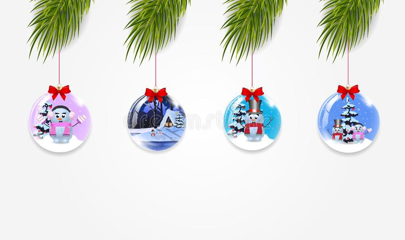 Vector set of christmas tree branches with xmas and new year balls royalty free illustration