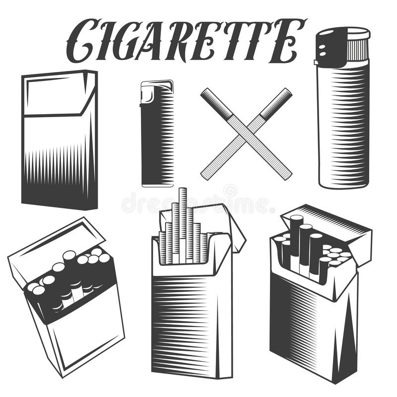 Vector set cigarette, lighter and pack of cigarettes. Smoking objects in monochrome style on white background. stock illustration