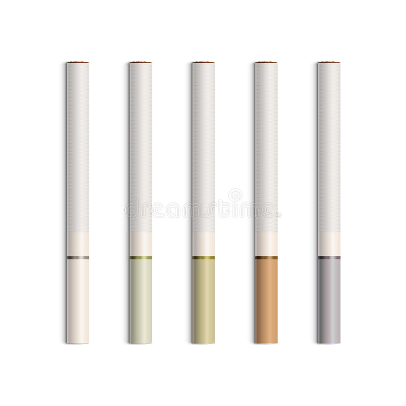 Vector Set of Cigarettes With Colored Filters royalty free illustration