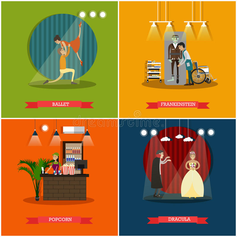 Vector set of cinema art concept posters in flat style. Vector set of cinema art concept posters, banners. Ballet, Frankenstein, Popcorn and Dracula flat style royalty free illustration