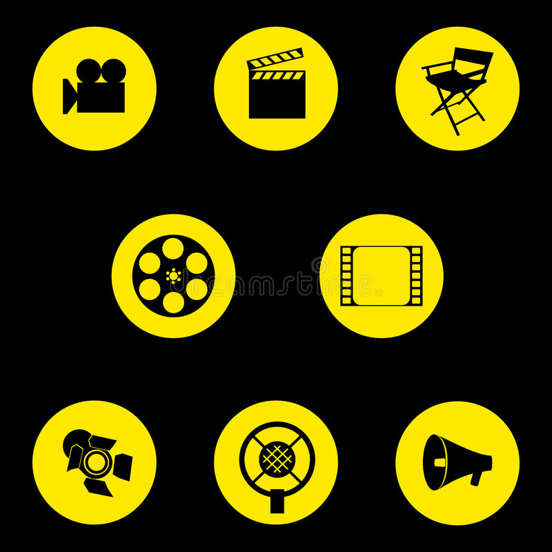 Vector. A set of cinematographic icons. Movie maker`s accessories. Graphic isolated illustration. Director`s chair, camera, cut royalty free illustration