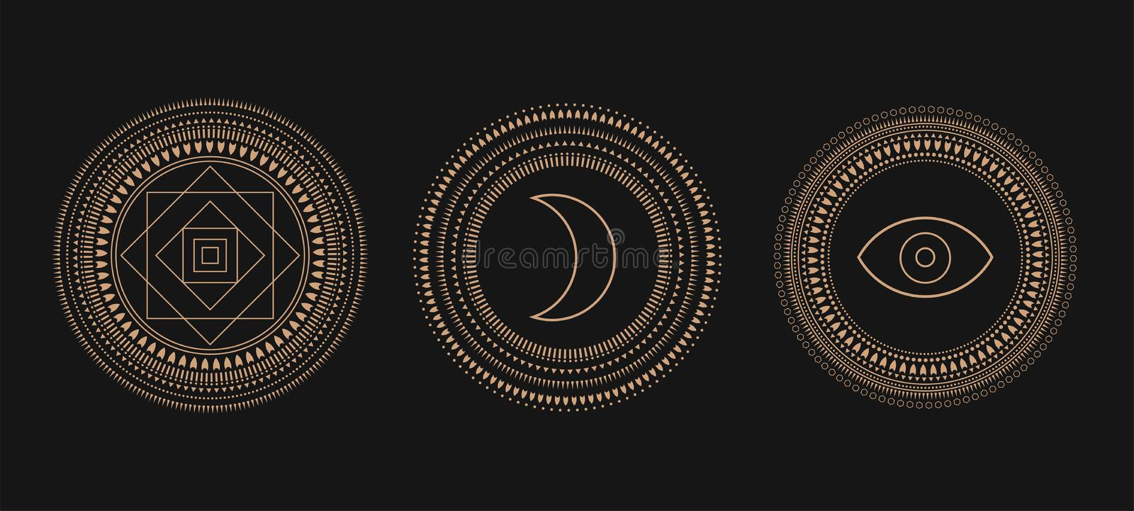 Vector Set of Circle Geometric Ornaments. Geometric alchemy symbol. Abstract occult and mystic signs. royalty free illustration