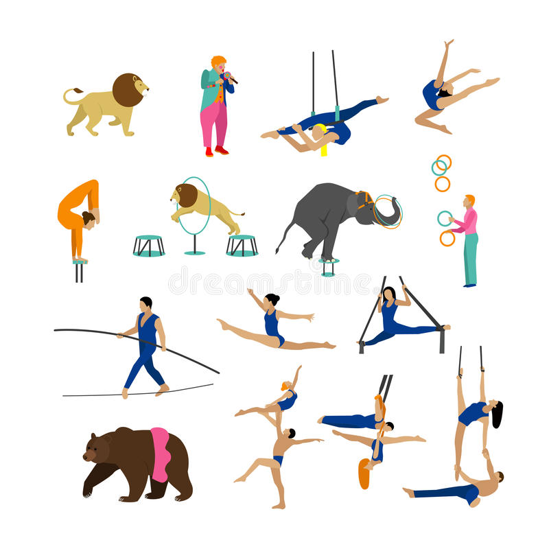 Vector set of circus artists, acrobats and animals on white background. Icons, design elements. royalty free illustration
