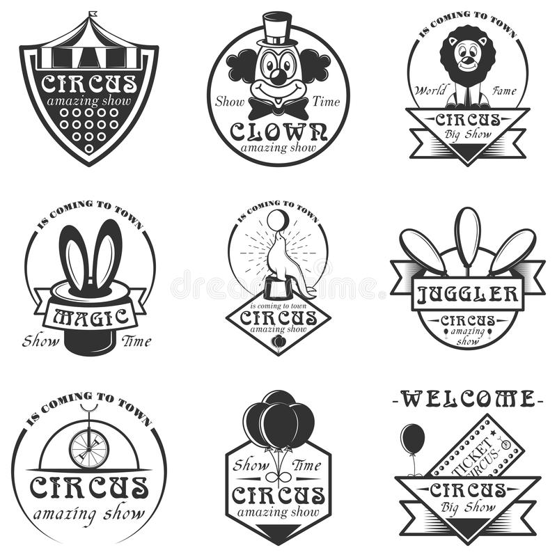 Vector set of circus isolated labels, logo and emblems. Black and white circus symbols and design elements. royalty free illustration