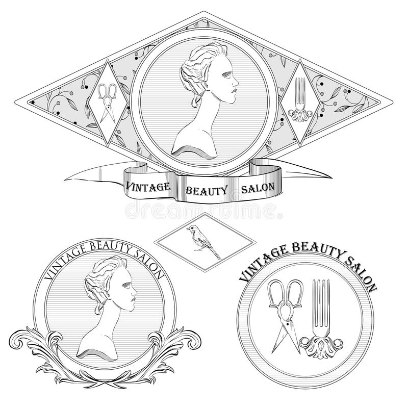 Vector set of classical woman logo of beauty salon or vintage shop. Retro logotypes collection vector illustration