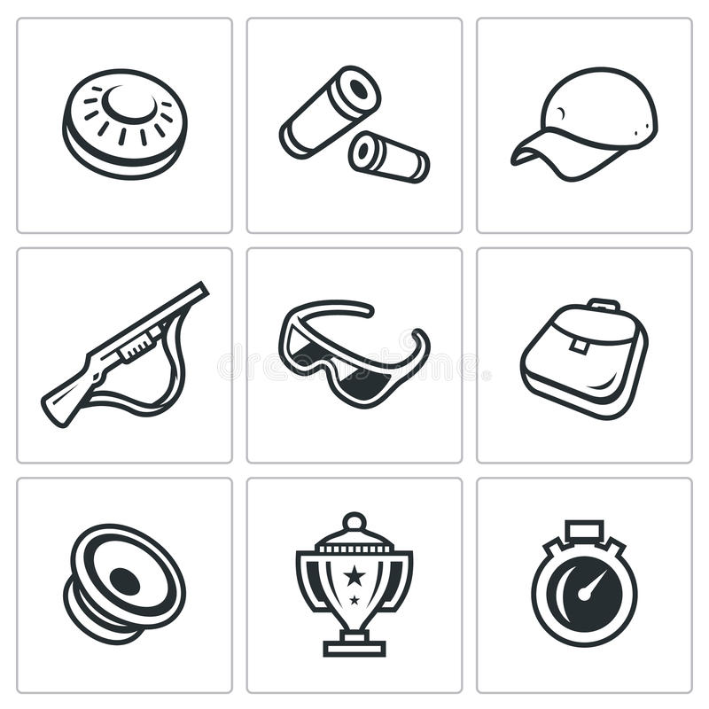 Vector Set of Clay Shooting Icons. royalty free illustration