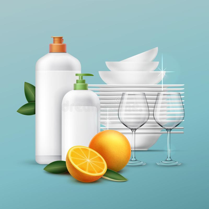 Vector clean dishes stock illustration