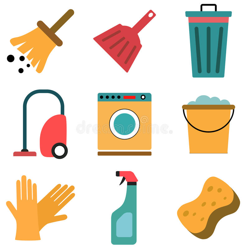 Vector set of cleaning flat icons. On white vector illustration