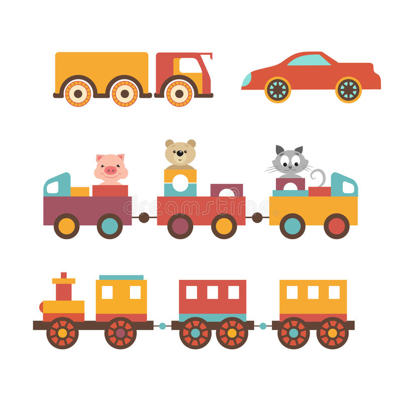 Vector set clip art construction machinery of toys for children. royalty free illustration