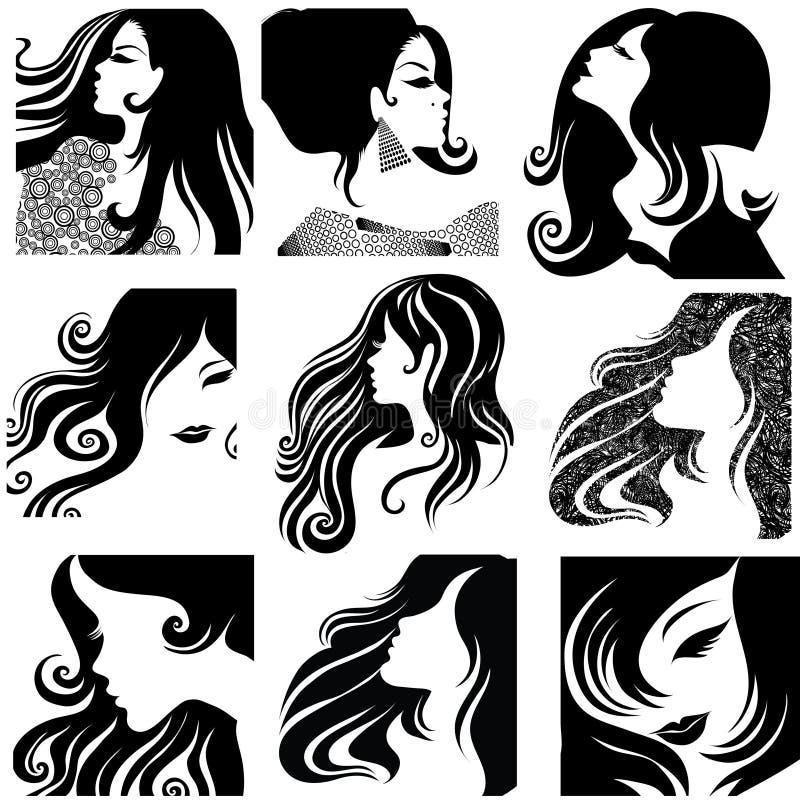 Download Vector Set Of Closeup Portraits Of Beautiful Woman Stock Vector - Image: 13957887