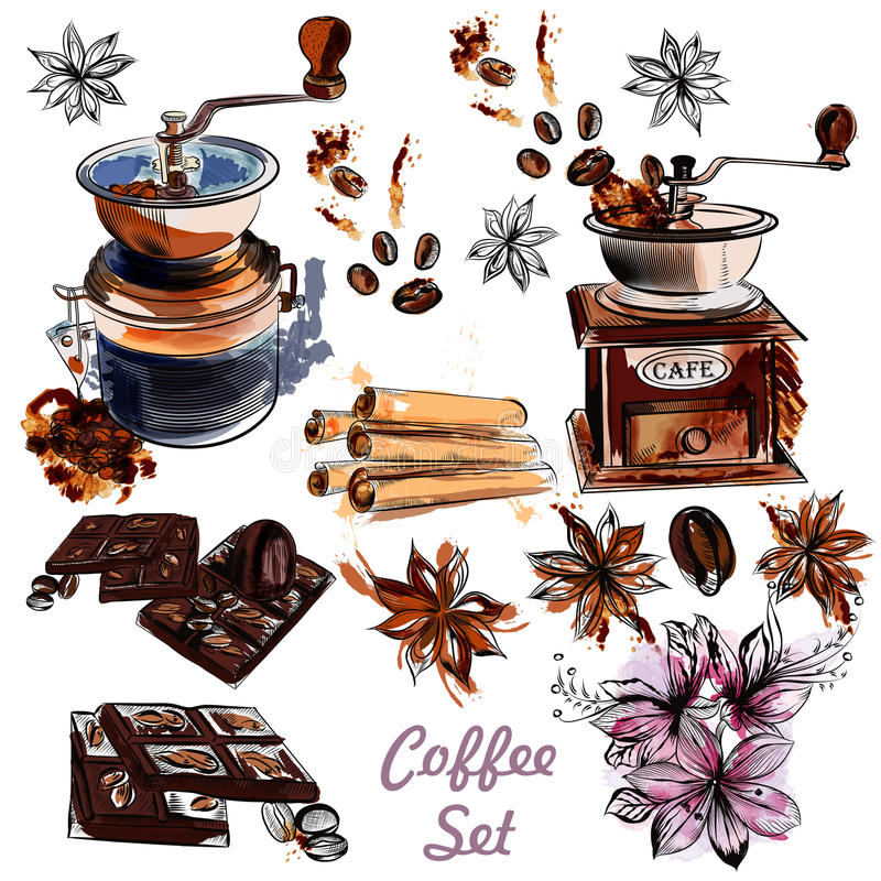 Vector set with coffee grinder anis stars and roasted beans in royalty free illustration