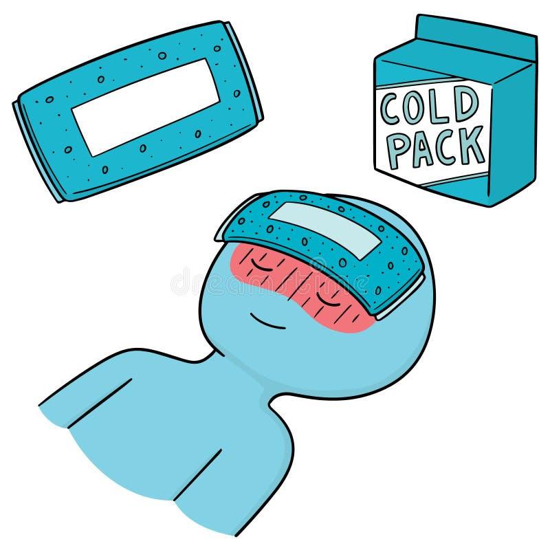 Vector set of cold pack. Hand drawn cartoon, doodle illustration royalty free illustration