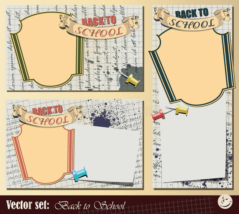 Vector set: Collection Back to School. Vector set: Collection sticker and background - Back to School royalty free illustration