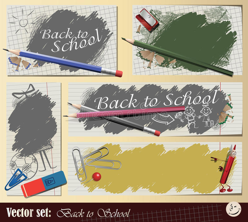 Vector set: Collection Back to School. Vector set: Collection sticker and background - Back to School stock illustration