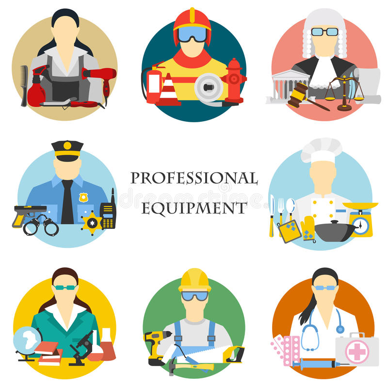 Vector set of collection icons of color professions equipment vector illustration vector illustration