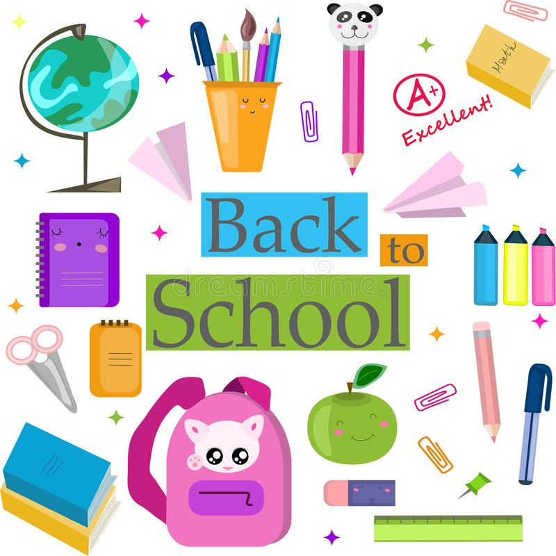 Vector set, collection, illustration with school supplies. Back to School. vector illustration