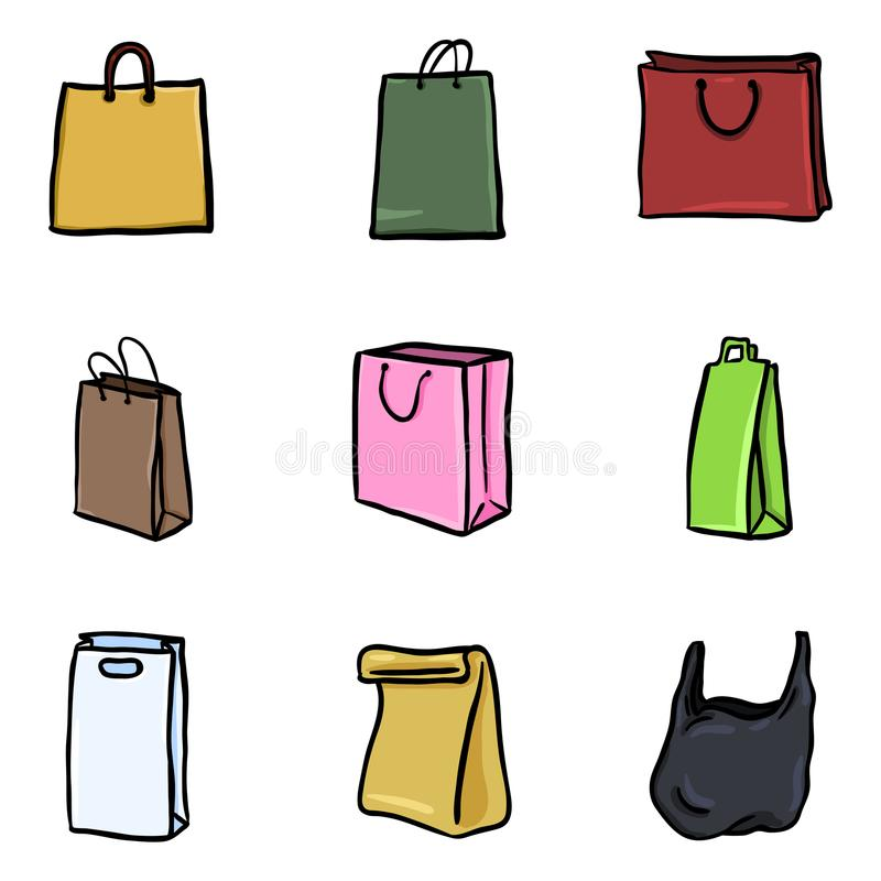 Vector Set of Color Doodle Icons - Shopping Bags. Vector Set of Cartoon Color Doodle Icons - Shopping Bags stock illustration