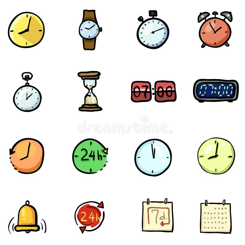Vector Set of Color Doodle Time Icons vector illustration
