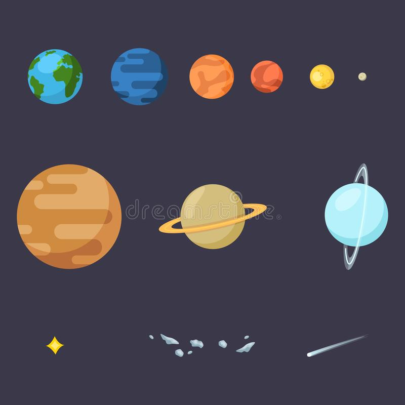 Vector Set of Color Flat Space Icons. Solar Systems Planets, Star, Comet and Asteroids vector illustration