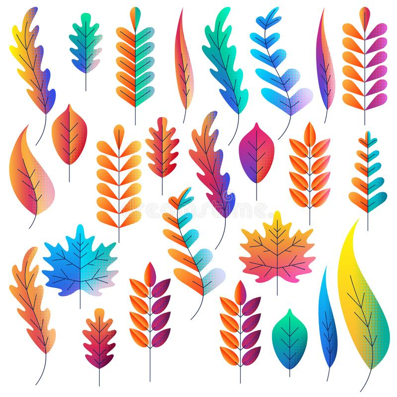 Vector set of color gradients autumn leaves. Fantasy plants icons and design elements. Fall cartoon illustration.  vector illustration