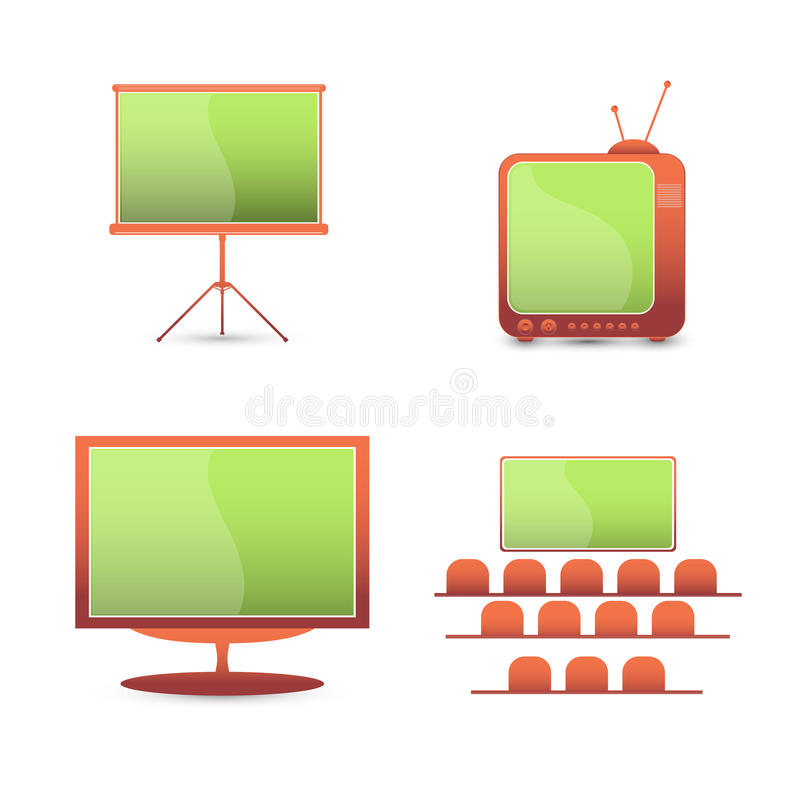 Vector set color icons. tv monitor vector illustration