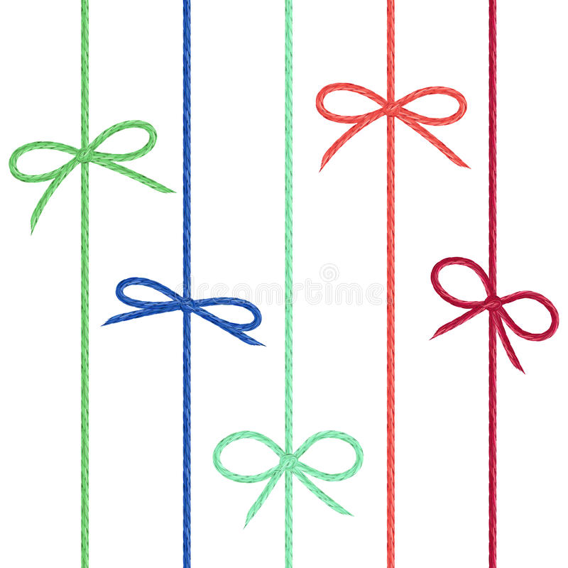 Vector set of colored linen string bows. Cute ribbons from hand stock illustration