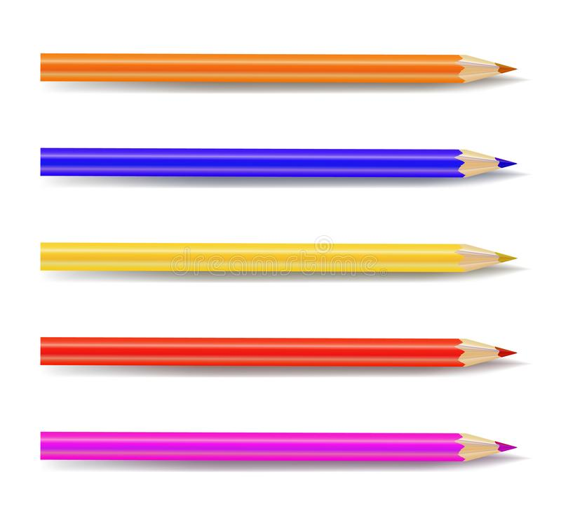 Vector Set of Colored Pencils, Art Supplies Isolated. royalty free illustration