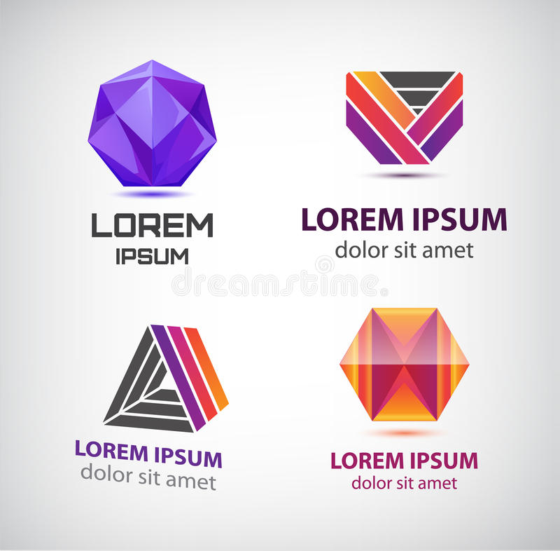 Vector set of colorful abstract logos. Design elements, identity for company, web icons. Crystal, stripes logotypes royalty free illustration