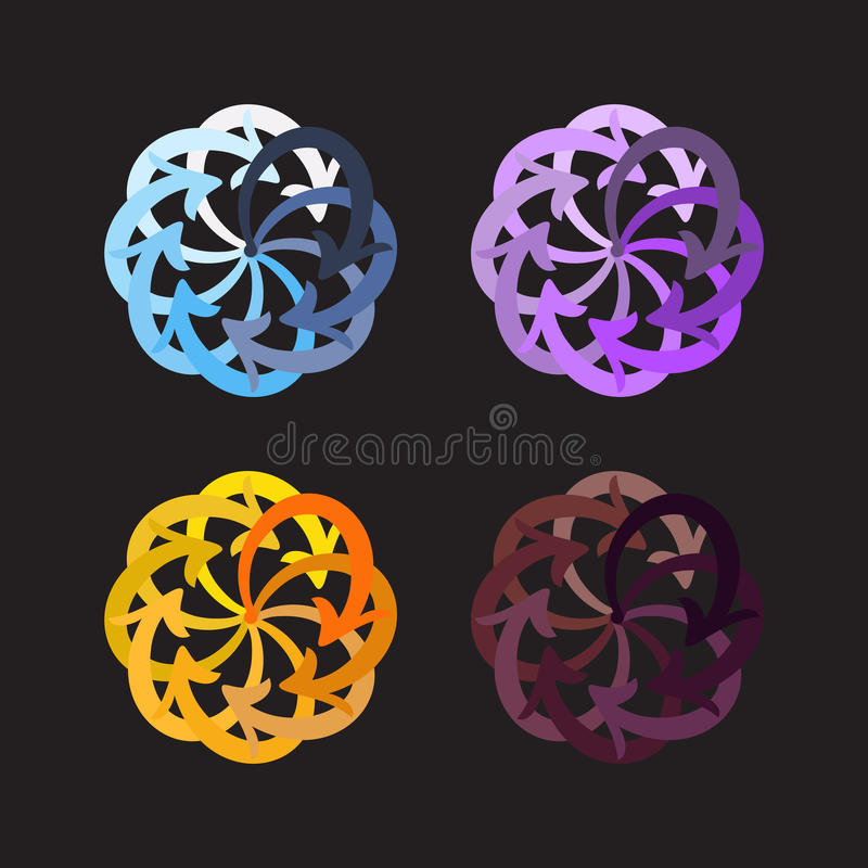 Vector set colorful arrows circle diagram. On black background royalty free illustration