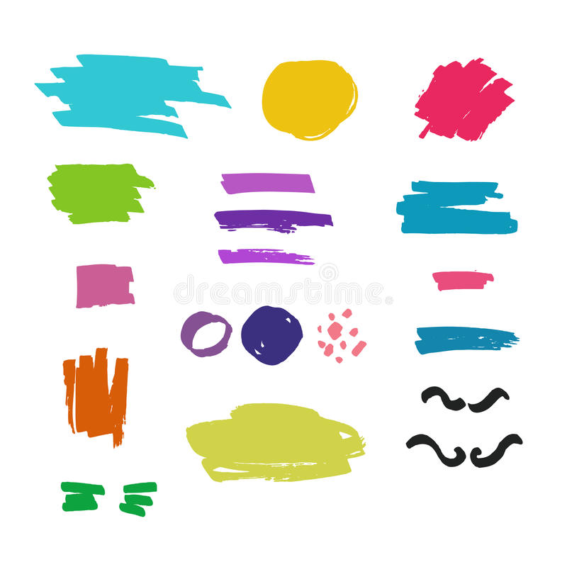 Vector set of colorful brush strokes, ink stains, graffiti elements isolated on white background. Grunge lines, dots and abstract vector illustration