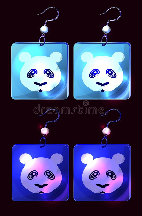 Vector set of colorful cartoon earrings. Isolate earrings icons on black background; jewelry on black; polar bear image on square; fashion women jewellery vector illustration