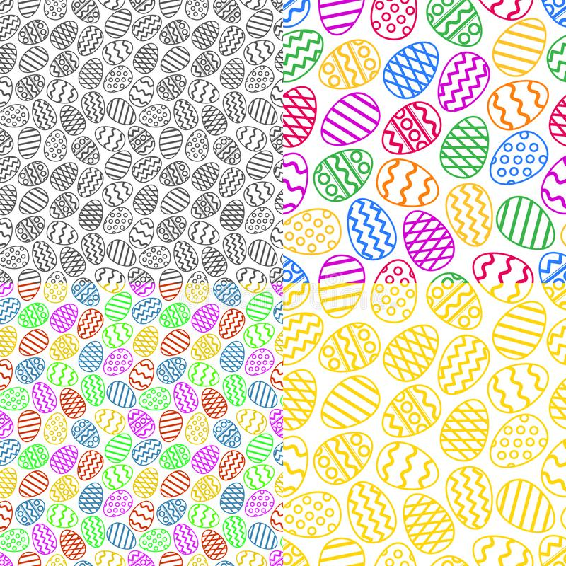 Vector set of colorful easter eggs seamless pattern stock illustration