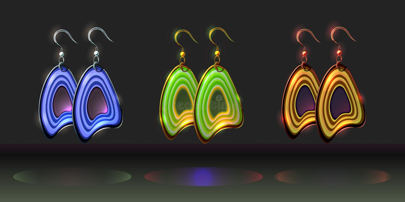 Vector set of colorful fantasy cartoon earrings. Bijou elements for design; fashion polymer clay women jewellery design; bright plastic polish bijoutery icons vector illustration