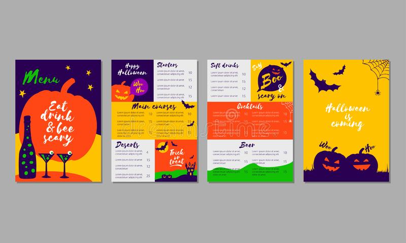 Vector set of colorful Halloween menu template for restaurant, bar, pub, cafe, night club or for web sites royalty free illustration