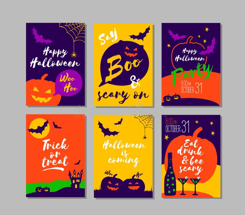Vector set of colorful Halloween party invitations or greeting cards with calligraphy and classic holiday symbols. stock illustration