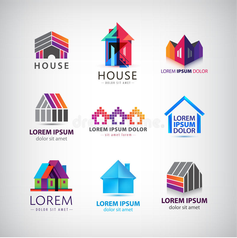 Vector set of colorful house, village, property royalty free illustration