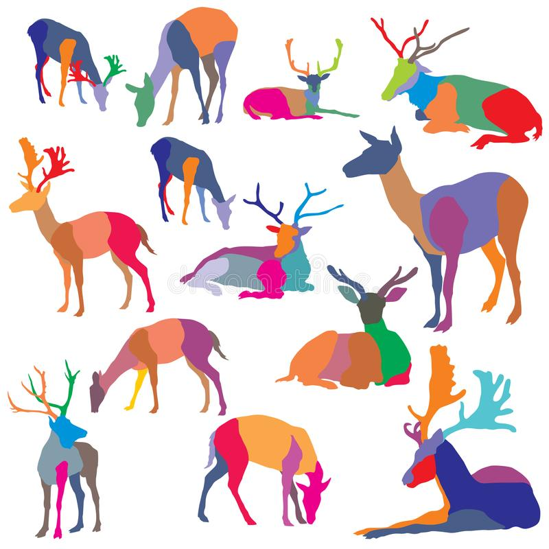 Vector set of colorful mosaic deer silhouettes. Set of vector colorful mosaic standing and lying deer silhouettes on white background stock illustration