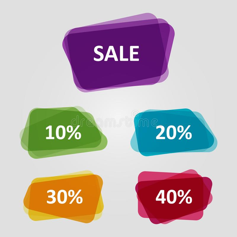 Vector set of colorful OFF Sale discount banners. Graphic overlay banners, discount offer price tag vector illustration
