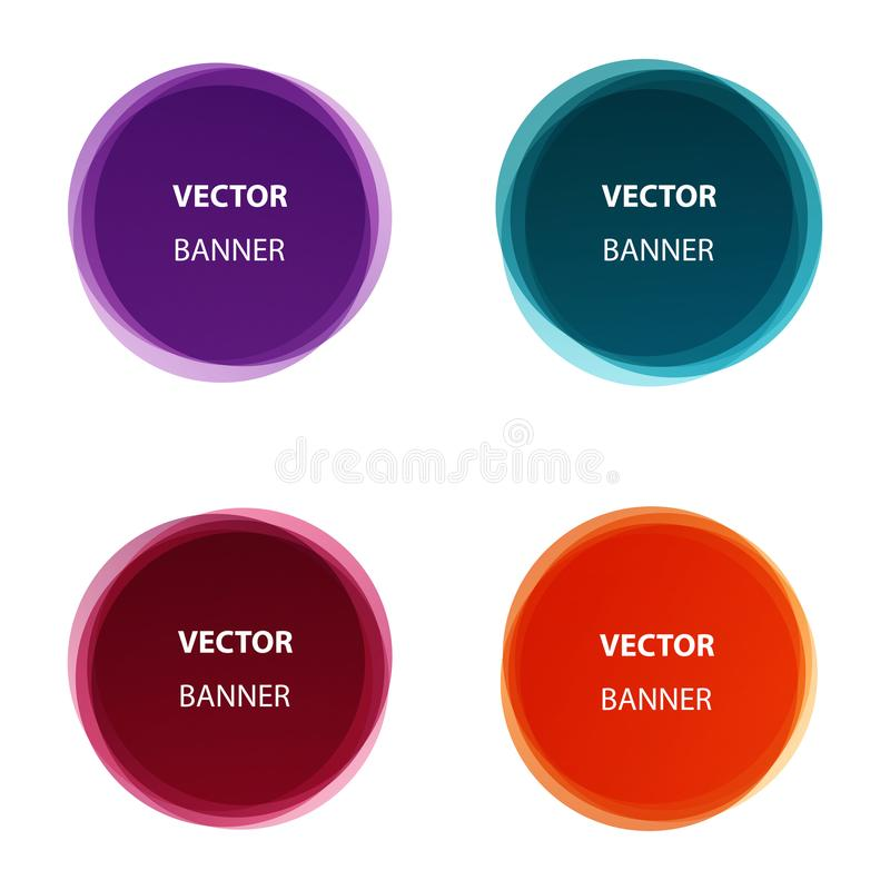 Vector set of colorful round shape abstract banners royalty free illustration