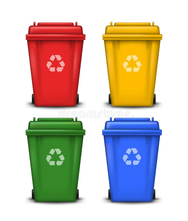 Vector set of colorful trash bins with recycle symbol isolated on white background royalty free illustration