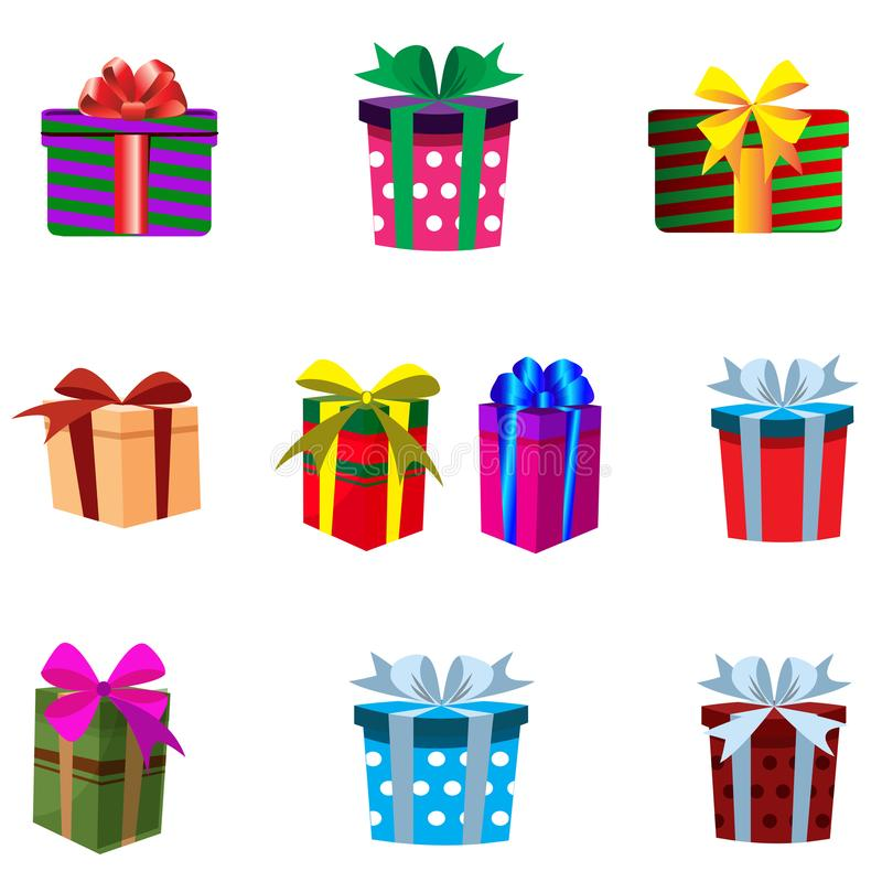 Vector set of colourful gift boxes isolated on white background. royalty free illustration